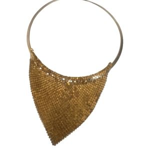 Gold plated mesh vintage necklace
